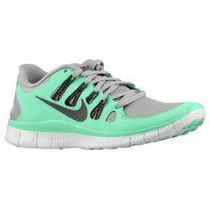 Nike Free 5.0+ - Women's - Silver/Green Glow/Summit White/Charred Grey. I want these!