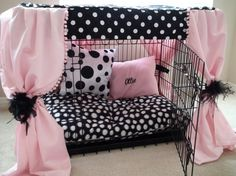 Dog Crate Cover Ensemble...A way to make the dog crate look cute!!!  LOVE IT!!