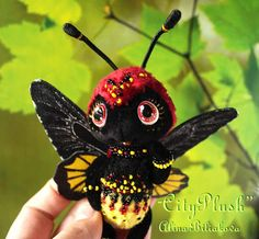 """Lakshmi the butterfly  Stuffed Butterfly By Alina Biliakova  4.3 inches (11 centimeters)  New butterfly named Lakshmi, she is a butterfly """"Troides rhadamantus"""" or """" golden birdwing"""". Lakshmi is a very spectacular butterfly, richly embroidered with beads. Butterfly Lakshmi continued my collection of """"Mini-World"""".Soon the collection will be supplemented some butterflies such as Graphium agamemnon , moth, blue kallima, emerald peacock and other.. It will be very interesting!)))"""