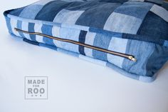 Just For Roo Pet Bed-Upcycled Denim-Pet Bed by MadeForRoo on Etsy