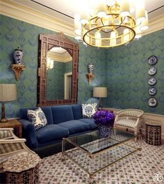 Tory Burch showroom: Giant carnation throw pillows, which look to be Robert Kime's Palmette : Turkish motifs in the wallpaper
