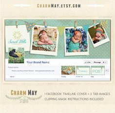 Facebook Timeline Cover - Facebook Timeline PSD Template - Photography, Newborn Photography Facebook - Customize Facebook Page.