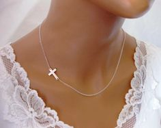 Sideways Cross Necklace Off Center Sterling Silver Celebrity