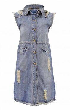Γυναικείο γιλέκο ντένιμ μακρύ | Nέες Παραλαβές - Γυναίκα | Metal Denim Shirt Dress, Shirts, Dresses, Fashion, Vestidos, Moda, Shirtdress, Fashion Styles, Dress