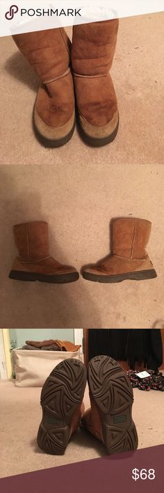 """Hard Bottom Short Ugg Boots Super cute and warm short Ugg boots in chestnut brown. Hard bottomed sole makes them perfect for puddles and snow. Soles in fantastic shape. Boots are pretty worn on the inside at the footbed. General wear and stains throughout but in good shape. Stains can be seen in pictures. Measures 8.5"""" high. Happy shopping! UGG Shoes Winter & Rain Boots"""