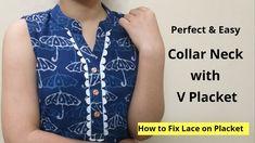 Collar Kurti Neck Design With V Placket Salwar Neck Designs, Neck Designs For Suits, Dress Neck Designs, Kurta Designs, Baby Clothes Patterns, Dress Sewing Patterns, Collar Kurti, Kids Blouse Designs, Kurti Designs Party Wear