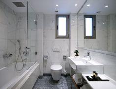 Bathroom cladding with Afyon marble Bathroom Cladding, Hardwood Floors, Flooring, Amber Stone, Corner Bathtub, Contemporary Style, Marble, Windows, Shower