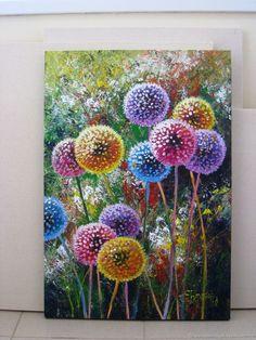 Dandelion flower art Original acrylic painting summer landscape – заказать на Ярмарке Мастеров – F1S5BCOM | Картины, Petrozavodsk
