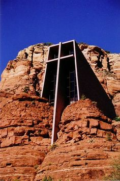 This very beautiful building is called the Chapel of the Holy Cross and it is located in Sedona, Arizona. It is a Roman Catholic church built in the rock. #religiousarchitecture