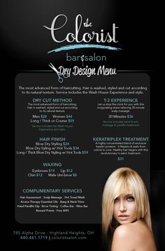 Salon menu - the colorist bar and salon specializing in hair color - cleveland ohio beauty Beauty Bar, Beauty Shop, Salon Hair Color, Salon Names, Beauty Salon Interior, Salon Business, Salon Services, Salon Style, Salon Design