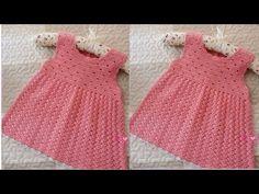 Crochet Girls Dress Pattern, Crochet Beanie Pattern, Baby Dress Patterns, Baby Girl Crochet, Crochet Baby Clothes, Baby Girl Dresses, Little Dresses, Knitting Dolls Clothes, Crochet Videos