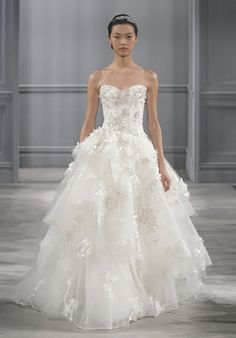 Strapless ball gown wedding dress with tulle skirt and embellished lace I Style: Bijou I by Monique Lhuillier I http://knot.ly/6492B0sgp
