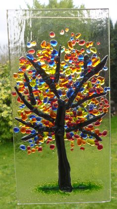 Blue, Red, Orange and Yellow Fused Glass Suncatcher. Blue, Red, Orange and Yellow Tree Suncatcher. by Livicraft on Etsy Broken Glass Art, Sea Glass Art, Glass Wall Art, Stained Glass Art, Shattered Glass, Clear Glass, Wine Glass, Fused Glass Ornaments, Snowman Ornaments