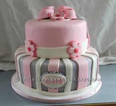 Cool Shabby Chic Baby Shower Cake ... This website is the Pinterest of birthday cakes