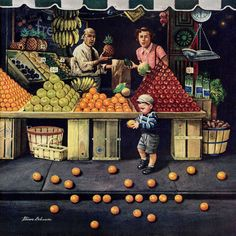 Marmont Hill - 'Toddler and Oranges' by Stevan Dohanos Painting Print on
