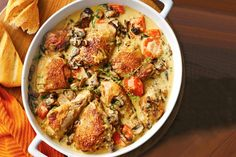 Chicken fricassee This one-pot dish of creamy chicken and mushroom is great served with crusty bread.