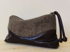 Recycled Wool and Leather Pouch