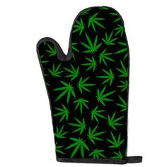 Marijuana green leaves on black Oven Mitt