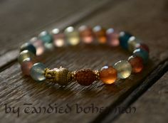 Buddha Bracelet- Energy of Earth- Yoga Jewelry, Tibetan Jewelry, Mens Beaded Bracelet, Mens Jewelry, Yoga Bracelet, Chakra, Candied Bohemian, Mens Fashion, Men Style, Men Bracelets, Rudraksha Bracelet, Guru bead $34.00 @Etsy