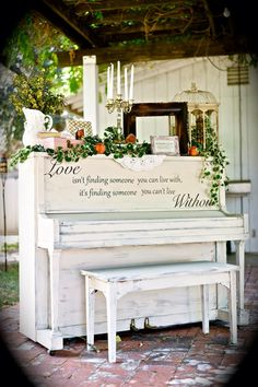 Annie Sloan Chalk Painted piano from my wedding. Old Ochre by Yesterday's Treasures by Maddy. Visit my Facebook page! https://www.facebook.com/Yesterdays-Treasures-by-Maddy-520858771365674/?pnref=story