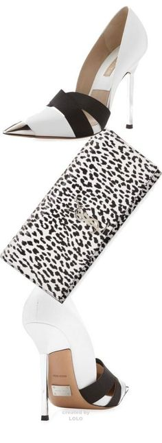 Black & White Pumps & Leopard Print Clutch fashion black and white shoes high heels clutch leopard print pump