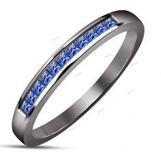 Women's Fashion Band Princess Cut Blue Sapphire 10k Black Gold Finish 925 Silver #affordablebridaljewelry #BandRing