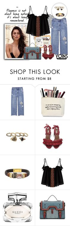 """""""Yoins! Ripped High-waisted loose Jeans"""" by autumn-soul ❤ liked on Polyvore featuring Gucci"""