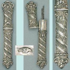 Ornate Antique French Silver Needle Case; Hallmarked Circa 1830