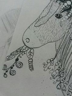 Detail nog een inktoefening paard