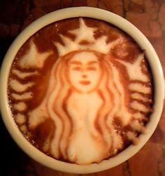 .·:*¨¨*:·.Coffee ♥ Art.·:*¨¨*:·. Starbucks Mermaid logo latte art