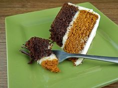 """If there were such a thing as a """"mullet of cakes,"""" this recipe is a perfect contender for such an honor. The chocolate layer is all business with a rich, dark flavor and dense texture. While there is hot brewed coffee in the batter, the addition simply adds to the chocolate's authority. Now the pumpkin layer is a different story....         Read More"""