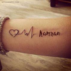 Write Name On Love Heartbeat Tattoo Image. Lover Name On Love Heartbeat Tattoo O. Couple Name Tattoos, Baby Name Tattoos, Family Tattoos, Son Tattoos, Arrow Tattoos, Print Tattoos, Tattoo Baby, Anchor Tattoos, Sister Tattoos