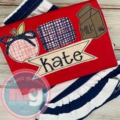 Applique Designs, Embroidery Applique, Back To School, Monogram, Boutique, First Day Of School, Boutiques, Entering School, Back To College