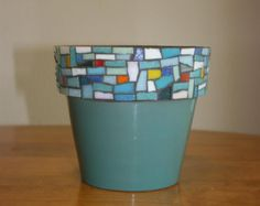 Mosaic Flower Pot With Blue/Green Glaze by UnitedFragments on Etsy Mosaic Tile Art, Pebble Mosaic, Blue Mosaic, Mosaic Crafts, Mosaic Projects, Stone Mosaic, Mosaic Glass, Stained Glass, Mosaic Planters