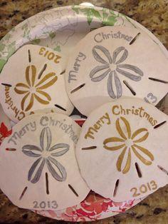 Paint grandchildren's names and date. Seashell Christmas Ornaments, Beach Ornaments, Nautical Christmas, Beach Christmas, Christmas Crafts, Christmas Decorations, Sea Crafts, Seashell Crafts, Crafts To Do