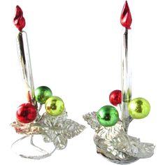 Rare Vintage Mercury Glass Faux Candle Sticks Holders Christmas Ornaments Decor --- found at www.rubylane.com @rubylanecom