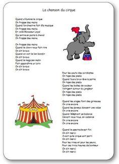 La chanson du cirque, chanson du cirque maternelle