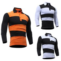 Men's Spring Lapel Color Block Tops Tees Cotton Long Sleeves Causal T-Shirts