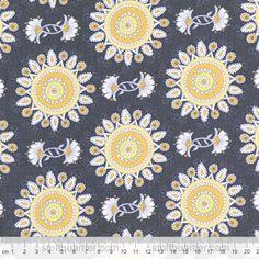 Stoffe gemustert - Stoff ORNAMENTE grau-gelb Vintage Sunshine - ein Designerstück von StoffQuartier_ bei DaWanda