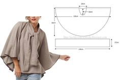 quick circle top or poncho pattern Diy Clothing, Sewing Clothes, Clothing Patterns, Sewing Patterns, Shirt Patterns, Sewing Tutorials, Sewing Hacks, Sewing Crafts, Sewing Projects