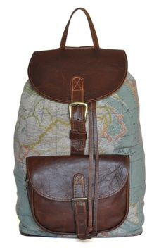 Wanderlust Backpack Genuine Leather and World Map by DoubleEdge