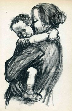 Mother With Child, lithograph, by Käthe Kollwitz, 1933, from a charcoal drawing of 1931.