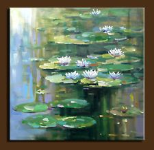 "30""x30"" Original Palette Knife art Oil painting water lilies"