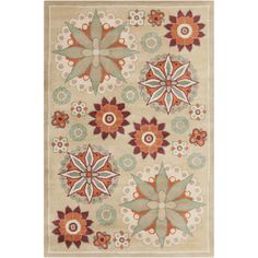 Allie Handmade Floral Tan Wool Rug (5' x 7'6)