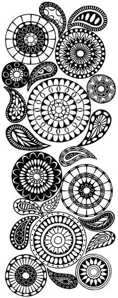 Mandala and paisleys inspiration - Zentangle Doodles Zentangles, Tangle Doodle, Zen Doodle, Doodle Art, Paisley Doodle, Paisley Print, Doodle Patterns, Zentangle Patterns, Doodle Designs