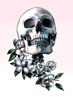 'Skull & Magnolia Flowers' by Jessica Bone Mexican Fonts, Crane, Magnolia Tattoo, Day Of The Dead Skull, Skulls And Roses, Magnolia Flower, Memento Mori, Skull Art, Danse Macabre