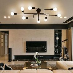 Black Metal Steel Art Flush Mount Ceiling Light With 8 Lights Impressive Dining Room Flush Mount Lighting Inspiration Design