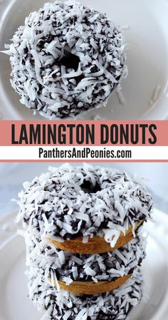 Lamington Donuts (Vegan) - Moist vanilla sponge cake filled with raspberry jam, topped with a chocolate glaze and shredded coconut! Vegan Desserts, Fun Desserts, Delicious Desserts, Vegan Recipes, Dessert Recipes, Vegan Sweets, Free Recipes, Australian Desserts, Aussie Food