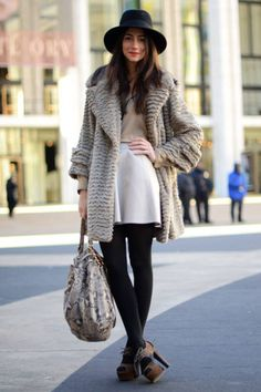 Like a fine wine and cheese - love the pairing of the black leggings with the sweater jacket!