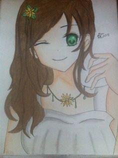anime girl with headphones and brown hair and hazel eyes ...  anime girl with...
